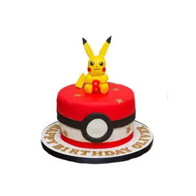 Eggless Happy Birthday Pokemon Cake