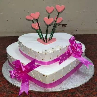 Eggless 2 Tier Heart Shape Pineapple Cake