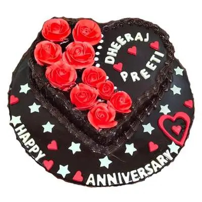 Eggless Heart Shape Anniversary Chocolate Cake