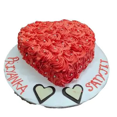 Eggless Strawberry Heart Shape Anniversary Cake
