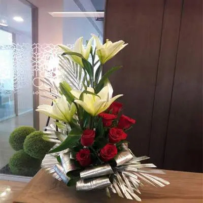 Yellow Lily & Red Roses Flower Bouquet