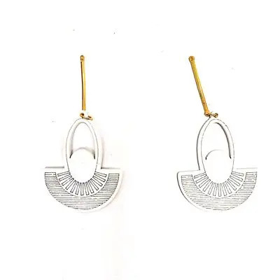 White Diya Earring