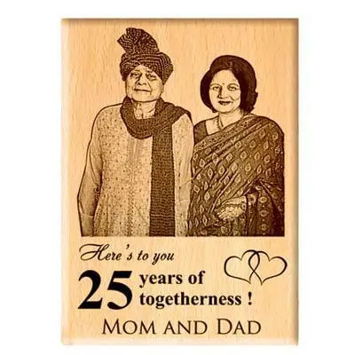 25 Anniversary Engraved Photo Frame for Parents