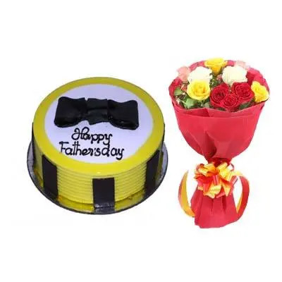 Appetizing Fathers Day Pineapple Cake with Bouquet