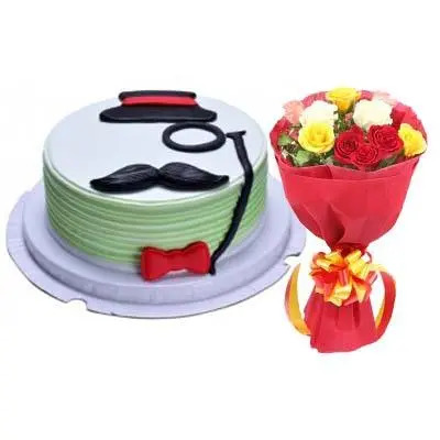 Delectable Fathers Day Vanilla Cake with Bouquet