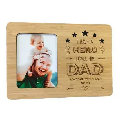 Engraved Wooden Photo Frame for Dad