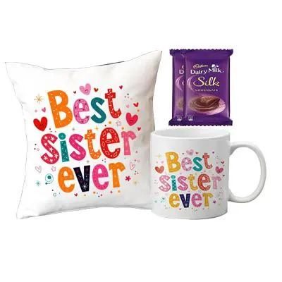 Best Sister Ever Cushion & Mug, Silk