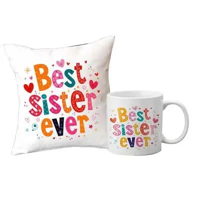 Best Sister Ever Cushion & Mug