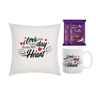 I Love You Cushion, Mug & Silk