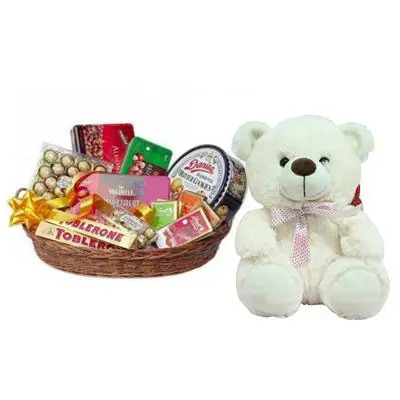 Imported Chocolates Basket with Teddy