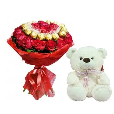 Ferrero Rocher with Rose Bouquet & Teddy