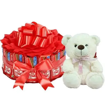Beautiful Kitkat Bouquet with Teddy