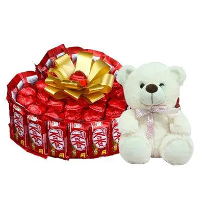 Heart Shaped Kitkat Chocolate Bouquet with Teddy