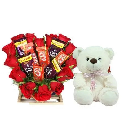Heart Shape Roses Dairy Milk kitkat Bouquet with Teddy