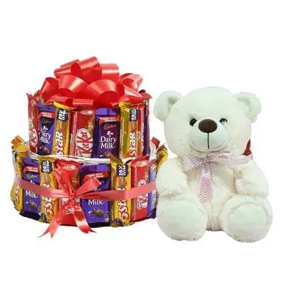 Mix Cadbury Kitkat Chocolate Bouquet with Teddy