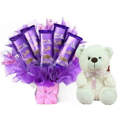 Beautiful Dairy Milk Silk Bouquet with Teddy
