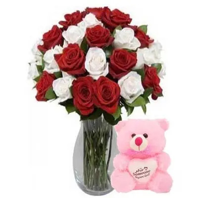 Red & White Roses Vase with Teddy