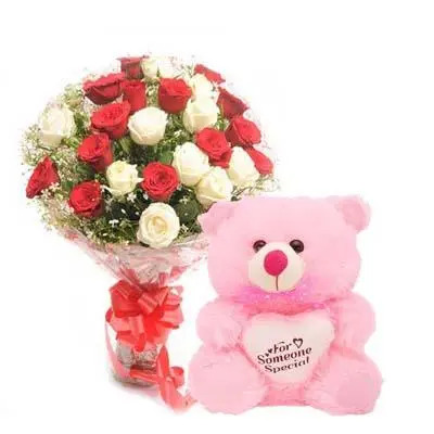 Red & White Roses with Teddy