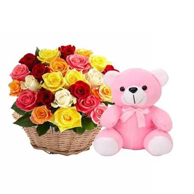 Mix Rose Basket with Teddy