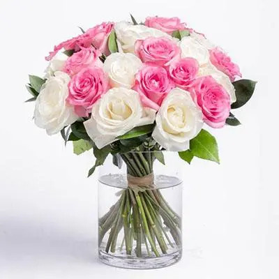 Pink and White Roses Big Vase