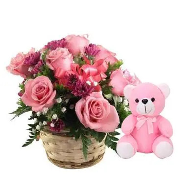 Pink Rose Basket with Teddy