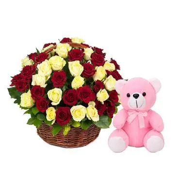 Red & Yellow Rose Basket with Teddy