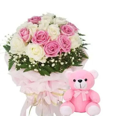 White & Pink Roses Bouquet with Teddy