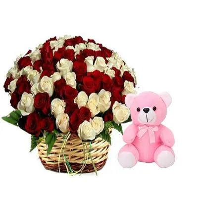 White n Red Rose Basket with Teddy