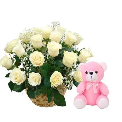 White Rose Basket with Teddy