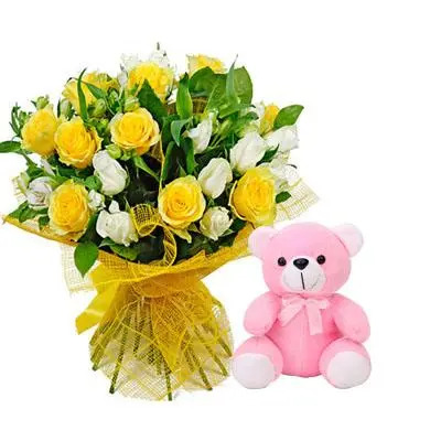 Yellow & White Roses Bouquet with Teddy