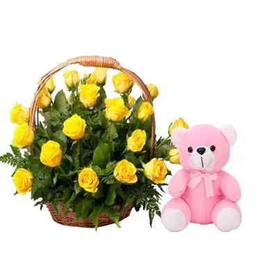 Yellow Rose Basket with Teddy
