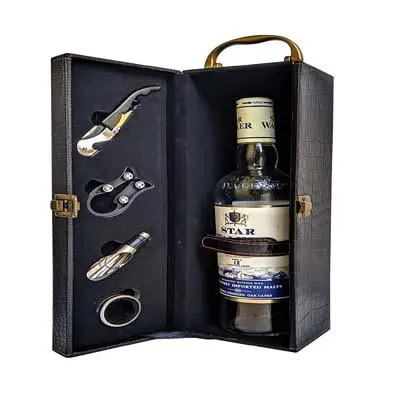 La Corsa Premium Leatherette Wine Bottle Box with Tools