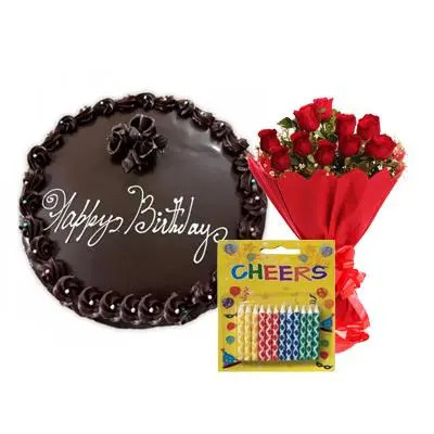 Birthday Dark Chocolate Cake with Bouquet & Candles