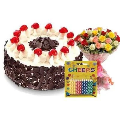 Black Forest Cake with Bouquet & Candles