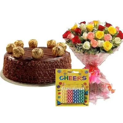 Ferrero Rocher Cake with Mix Roses & Candles
