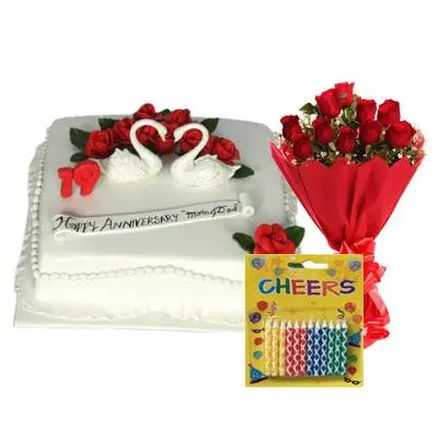 Happy Anniversary Pineapple Cake with Red Roses & Candles