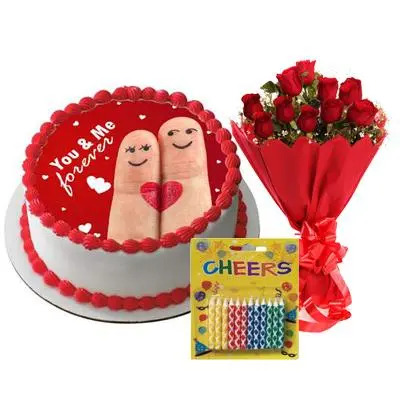 Happy Anniversary You & Me Cake with Red Roses & Candles