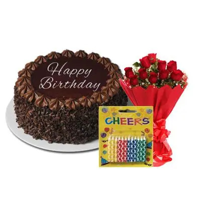 Happy Birthday Chocolate Cake with Bouquet & Candles