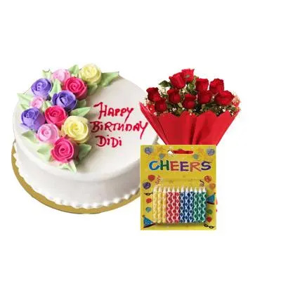 Happy Birthday Flowery Cake with Bouquet & Candles
