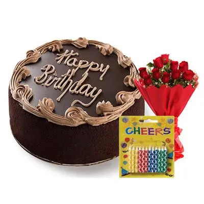 Happy Birthday Fudge Chocolate Cake with Bouquet & Candles