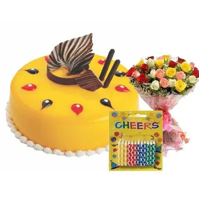 Mango Cake with Mix Roses & Candles