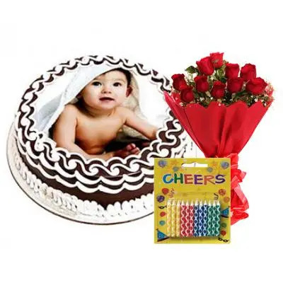 Round Photo Cake with Red Roses & Candles
