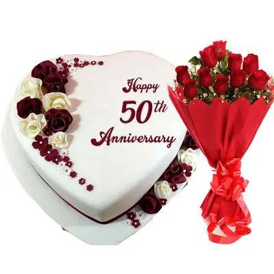 50th Anniversary Heart Shape Fondant Vanilla Cake with Bouquet