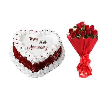 50th Anniversary Heart Shape Vanilla Cake