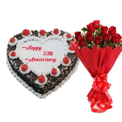 50th Anniversary Black Forest Heart Shape Cake