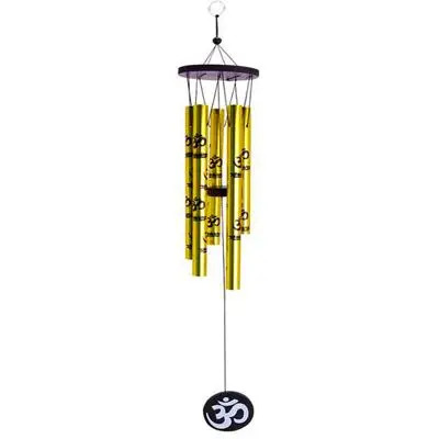 Feng Shui Metal Golden Pipes Wind Chime with Om