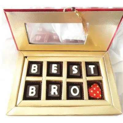 8 Pcs Chocolates filled with Nuts and Almonds with edible 'BEST BRO' message