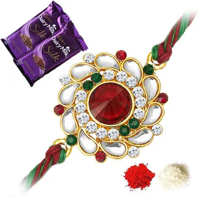 Kundan Rakhi with Silk
