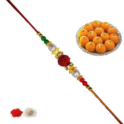 Rudraksha Rakhi with Laddu