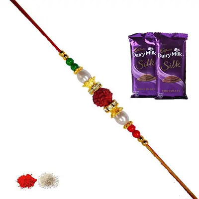 Rudraksha Rakhi with Silk